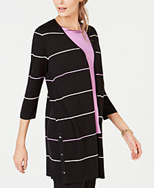 Alfani Striped Button-Embellished Cardigan, Created for Macy's