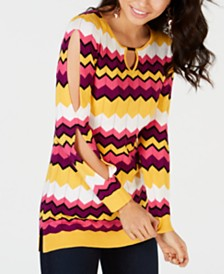 Thalia Sodi Chevron Multi-Stripe Tunic Sweater, Created for Macy's