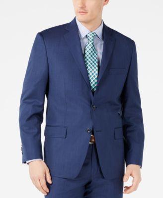 Men's Classic-Fit Airsoft Stretch Dark Blue Mini Herringbone Suit Jacket