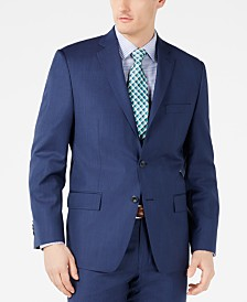Michael Kors Men's Classic-Fit Airsoft Stretch Dark Blue Mini Herringbone Suit Jacket