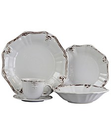 Fleur De Lys 20 Piece Dinnerware Set in White