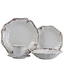 Elama Fleur De Lys 20 Piece Dinnerware Set in White
