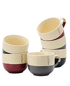 Elama Latte Loft 6 Piece 18 Ounce Mug Set, Assorted Colors