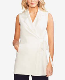 Vince Camuto Notched-Lapel Wrap Top