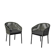 Osborne Aluminum Outdoor Dining Chairs, 2 Piece Set with Cushions