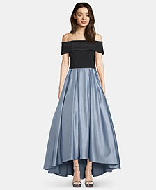 Off-The-Shoulder Satin Ballgown