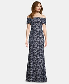 Betsy & Adam Off-The-Shoulder Lace Gown