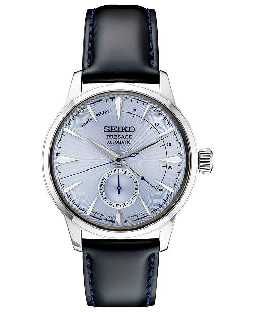 2ed6e8756 ... Seiko Men's Automatic Presage Black Leather Strap Watch 40.5 ...