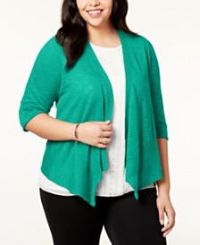 Alfani Plus Size Linen Open-Front Cardigan, Created for Macy's