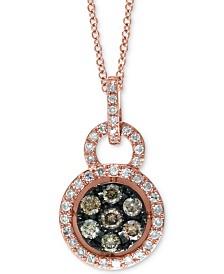"EFFY® Diamond 18"" Pendant Necklace (3/8 ct. t.w.) in 14k Rose Gold"