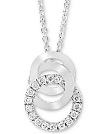"EFFY® Diamond Multi-Ring 18"" Pendant Necklace (1/5 ct. t.w.) in 14k White Gold"