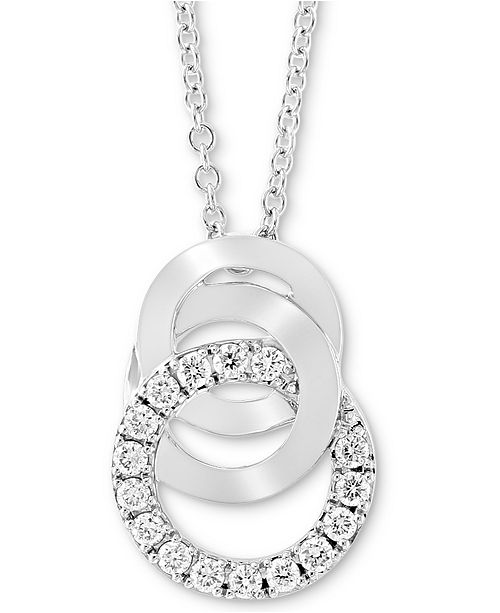 "EFFY Collection EFFY® Diamond Multi-Ring 18"" Pendant Necklace (1/5 ct. t.w.) in 14k White Gold"