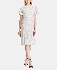 Lauren Ralph Lauren Ruffle-Trim Lace Dress