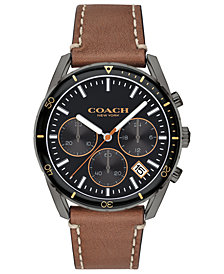 COACH Men's Chronograph Thompson Sport Saddle Leather Strap Watch 41mm