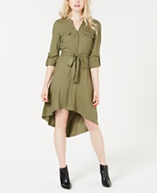 GUESS Zaylee High-Low Belted Shirtdress