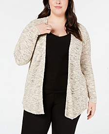 Plus Size Heathered Metallic Open-Front Cardigan Sweater