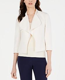 Anne Klein Cascade-Lapel Open-Front Jacket