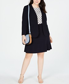 Bar III Plus Size Jacket, Printed Blouse & Ruffled Skirt, Created for Macy's