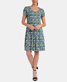 NY Collection Petite Printed Pleated Dress