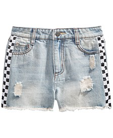 Epic Threads Big Girls Sequin Check Cotton Denim Shorts, Created for Macy's