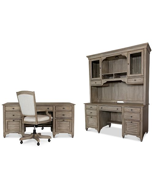 York Home Office 4 Pc Furniture Set Executive Desk Credenza Hutch Upholstered Chair