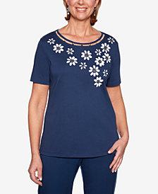 Alfred Dunner Cote D'Azur Embellished Flower Short-Sleeve Top