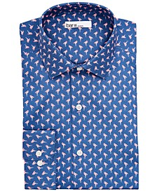 Men's Classic/Regular-Fit Performance Stretch Flamingo Dress Shirt, Created for Macy's