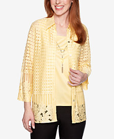 Alfred Dunner Petite Native New Yorker Floral Cutout Layered-Look Necklace Top