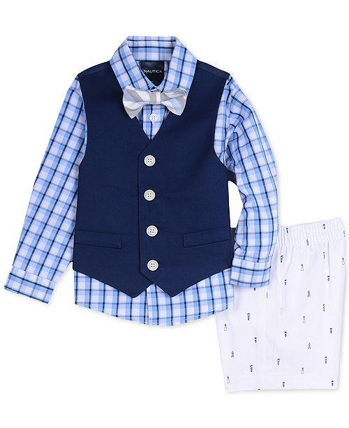 Nautica Baby Boys 4-Pc. Plaid Shirt, Vest, Shorts & Bowtie Set