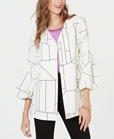 Alfani Printed Balloon-Sleeve Jacket, Created for Macy's