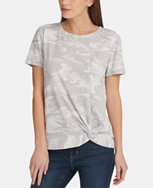 DKNY Short-Sleeve Camo-Print Tie-Front Top