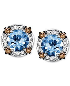Le Vian® Sea Blue Aquamarine (1-3/8 ct. t.w.) & Diamond (1/4 ct. t.w.) Stud Earrings in 14k White Gold