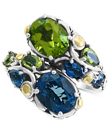 EFFY® Multi Gemstone (6 ct.t.w.) Statement Ring in Sterling Silver & 18K Gold Over Silver