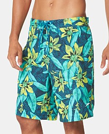 "Speedo Men's Active 4-Way Stretch Tropical-Print 10"" E-Board Swim Trunks"