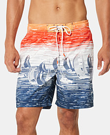 "Speedo Men's Regatta Winds TurboDri Colorblocked Sailboat-Print E-Board 18"" Swim Trunks"