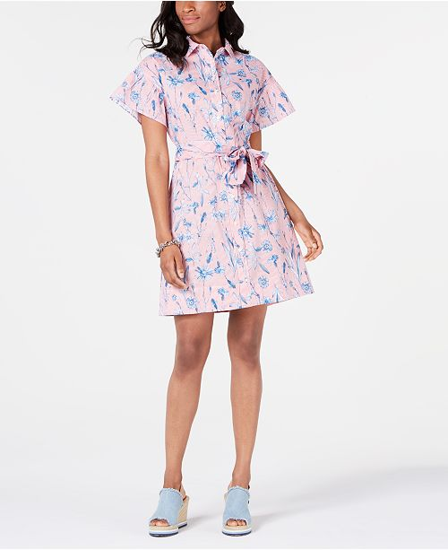 Tommy Hilfiger Cotton Belted Printed Shirtdress