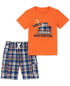 Kids Headquarters Little Boys 2-Pc. Construction Appliqué T-Shirt & Plaid Shorts