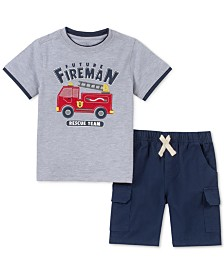 Kids Headquarters Little Boys 2-Pc. Layered-Look Firetruck Appliqué T-Shirt & Twill Shorts Set