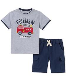 Kids Headquarters Little Boys 2-Pc. Layered-Look Firetruck Appliqué T-Shirt & Twill Shorts Set