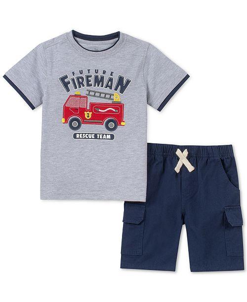 Kids Headquarters Toddler Boys 2-Pc. Layered-Look Firetruck Appliqué T-Shirt & Twill Shorts Set
