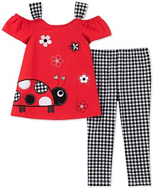 Kids Headquarters Little Girls 2-Pc. Lady Bug Tunic & Gingham Leggings Set