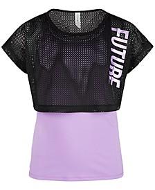 Big Girls Future-Print Layered-Look Mesh T-Shirt, Created for Macy's