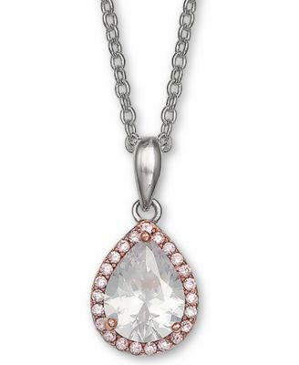 Sterling Silver 16 2 Extension CZ Oval Necklace