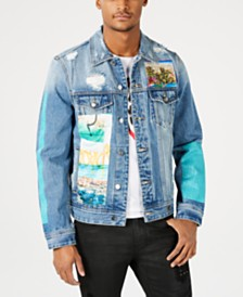 GUESS Men's Destructed Patch Denim Jacket