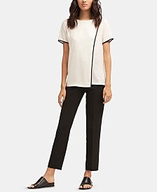 DKNY Piped-Trim Overlapping-Front Top
