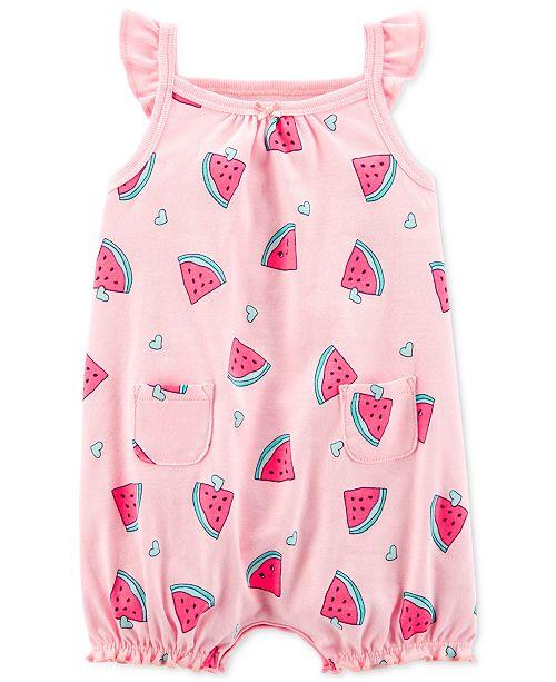b6f7bcef4f01 Carter s Baby Girls Watermelon-Print Cotton Romper   Reviews - All ...