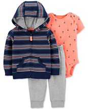 2eac4ef50cc6 Carter's Baby Boys 3-Pc. Striped Hoodie, Printed bodysuit & Jogger Pants Set