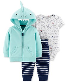 Carter's Baby Boys 3-Pc. Shark Hoodie, Bodysuit & Striped Jogger Pants Set