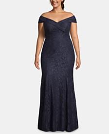XSCAPE Plus Size Off-The-Shoulder Lace Gown