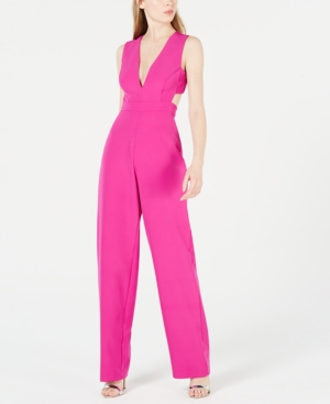 Aidan Mattox Suits AIDAN BY AIDAN MATTOX V-NECK CUTOUT JUMPSUIT